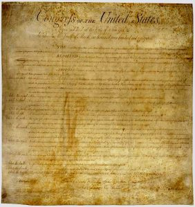 Bill of Rights.  Photo: National Archives