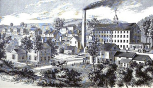 An engraving of the mill complex from an 1876 history of the city
