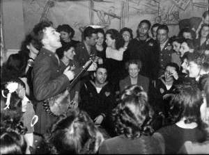 Pete singing with Eleanor Roosevelt listening (and singing along?)  Photo: Photograph by Joseph A. Horne. Via Library of Congress site