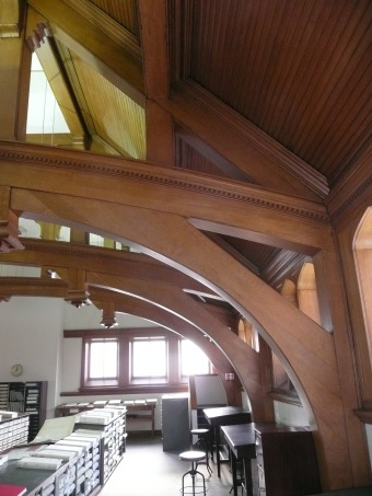 Majestic, quartered oak tresses in the addition built in 1896