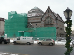 Masonry work begins on the Athenaeum in the deep of winter