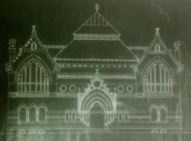 The original architectural drawing of the front elevation of the Athenaeum