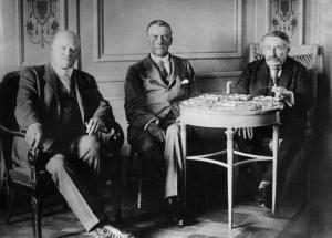Streseman, Chamberlain and Briand at Locarno.  Photo,  German Federal Archive