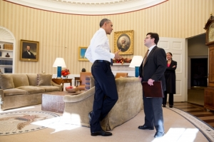President Obama speaking with Ricardo Zuniga, NSC Director for Western Hemisphere, who negotiated Cuba opening.  Photo, White House