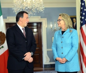 With Mexican Foreign Secretary Jose Antonio Meade in 2013.  Photo, department of State