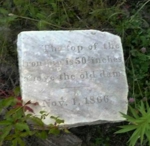 Inscription on Keeler Dam Stone Marker.  Photo, the author,