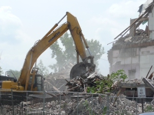 Tearing down the Plunkett School to make way for doughnuts. Photo, the author