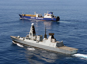 British destroyer escorting shipment of chemicals out of Syria in February 2014; photo courtesy of British Ministry of Defence