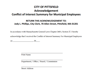 A 10 page summary of conflicts of interests that municipal employees could encounter